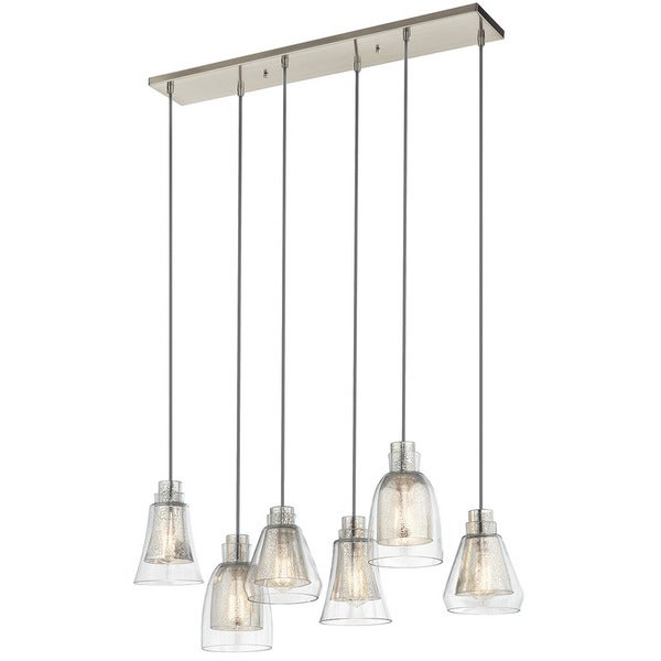 Kichler Lighting Evie Collection 6 Light Brushed Nickel Linear Chandelier