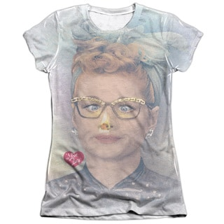 I Love Lucy/Oh Nose Short Sleeve Junior Poly/Cotton Crew in White