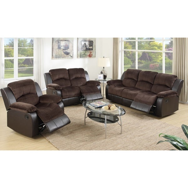 Pogradec Brown Upholstered Padded Suede And Faux Leather 3 Piece Living Room Set Free Shipping