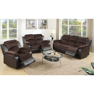 Pogradec Brown Upholstered Padded Suede and Faux Leather 3-piece Living Room Set
