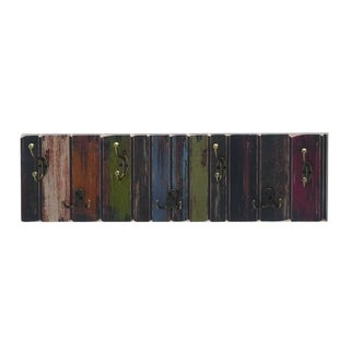 Multicolored Wooden Metal Wall Hook Strip