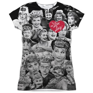 Lucy/Faces (Front/Back Print) Short Sleeve Junior Poly Crew in White