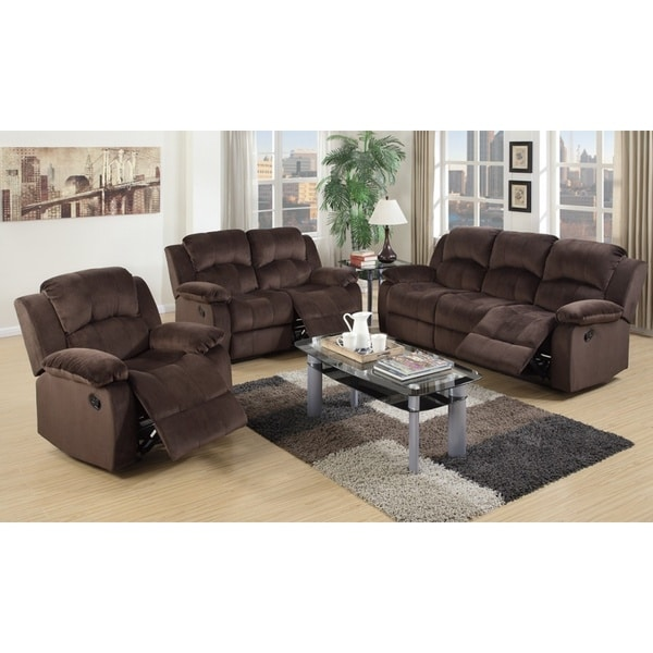 Como Brown Pine And Suede 3 Piece Living Room Set Free Shipping Today Ove