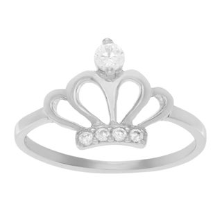 Journee Collection Sterling Silver Cubic Zirconia Crown Ring