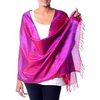 Handcrafted Varanasi 'Fiery Dawn' Silk Shawl (India)