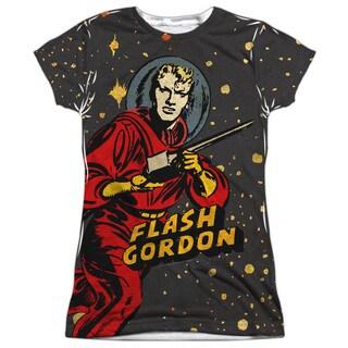 Flash Gordon/Blast Off Short Sleeve Junior 100-percent Poly Crew in White