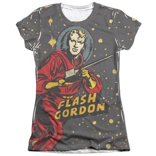 Flash Gordon/Blast Off Short Sleeve Junior 65/35 Poly/Cotton Crew in White