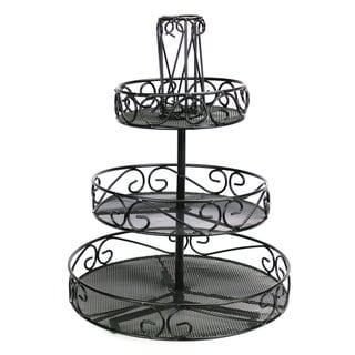Ikee Design Black Metal 3-tier Rotating Tabletop Rack