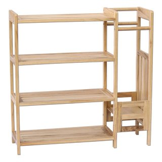 Ikee Design Natural Wood 31.5-inch x 10.25-inch x 31.75-inch 2-in-1 Shoe and Umbrella Rack