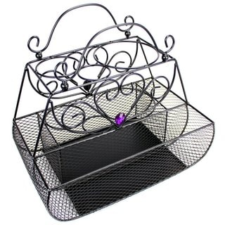 Black Metal Wire 12-inch x 7.5-inch x 11-inch Styling Caddy Organizer