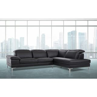 Divani Casa Carnation Black Eco Leather Modern Sectional Sofa