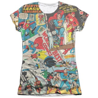 JLA/Classic Collage (Front/Back Print) Short Sleeve Junior Poly/Cotton Crew in White