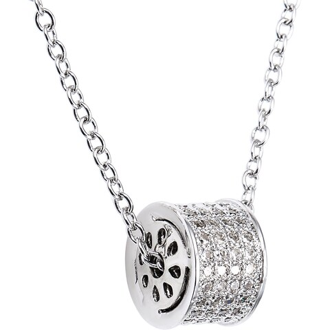 Simon Frank Sterling Silver Cubic Zirconia Pave Infinity Barrel Necklace