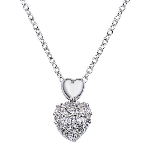 "Simon Frank Designs Micro-pave Heart Necklace w/ 18"" Chain"