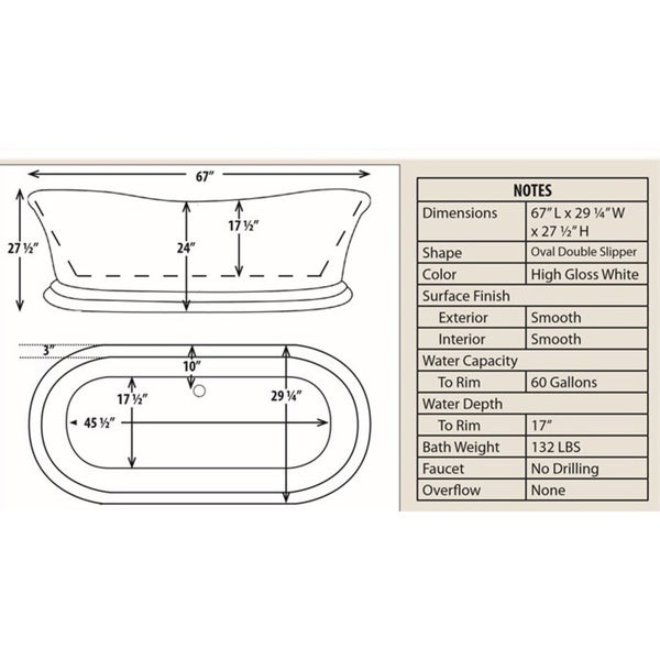 free standing tub dimensions. Signature Bath White Acrylic Freestanding Tub  Free Shipping Today Overstock com 18785767