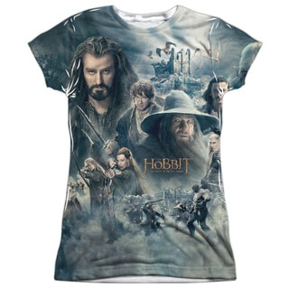 Hobbit/Epic Poster Short Sleeve Junior Poly Crew in White