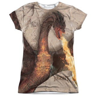 Hobbit/Smaug Attack Short Sleeve Junior Poly Crew in White