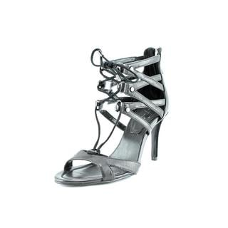 Marc Fisher Women's 'Poloma2' Black Leather Mid Heel Sandals