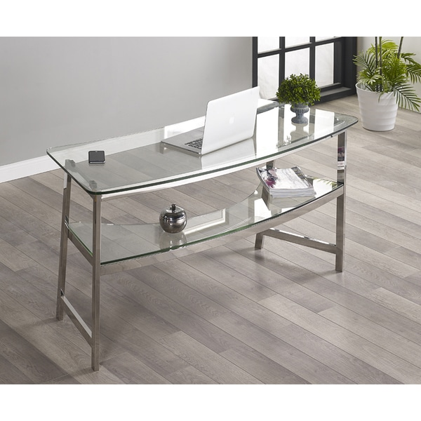 Tenzo Silver Glass Metal Writing Desk Free Shipping
