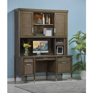 Budapest Chestnut Finish Wooden Storage Credenza Desk with Hutch