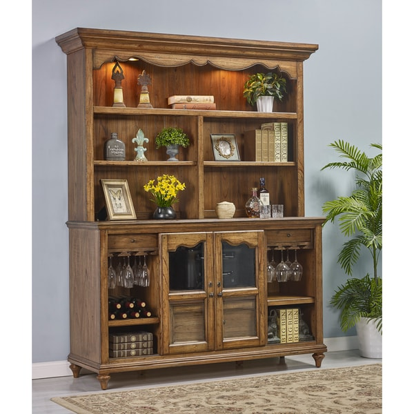 Budapest Maple-finished Wood Storage Credenza Desk with Hutch - Free