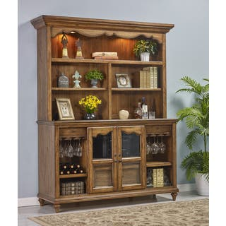 Budapest Maple-finished Wood Storage Credenza Desk with Hutch|https://ak1.ostkcdn.com/images/products/11890539/P18785901.jpg?impolicy=medium