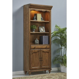 Budapest Brown Veneer and Wood 2-door Bookcase