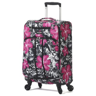 Mia Toro ITALY Ibisco Multicolored Floral Nylon 28-inch Expandable Fashion Spinner Upright Suitcase