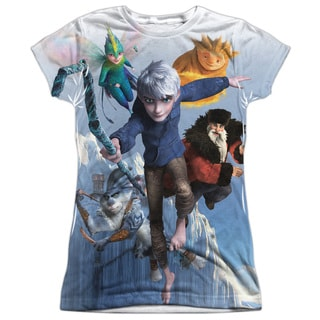 Rise Of The Guardians/Together Now (Front/Back Print) Short Sleeve Junior Poly Crew in White