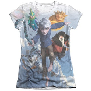 Rise Of The Guardians/Together Now (Front/Back Print) Short Sleeve Junior Poly/Cotton Crew in White