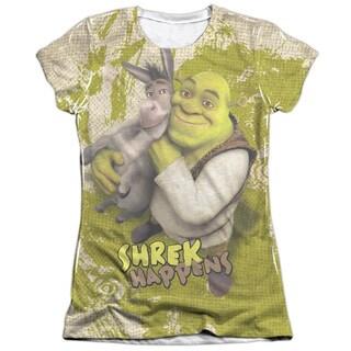 Shrek/Best Friends (Front/Back Print) Short Sleeve Junior Poly/Cotton Crew in White