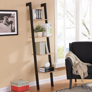 Danya BWeathered Oak and Black Leaning Four Level Shelf