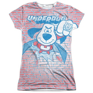 Underdog/Burst (Front/Back Print) Short Sleeve Junior Poly Crew in White