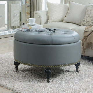 Link to Chic Home Mona Black/ Grey/ Cream Leather Hidden Storage Button Tufted Gold Nailhead Trim Round Ottoman Similar Items in Ottomans & Storage Ottomans