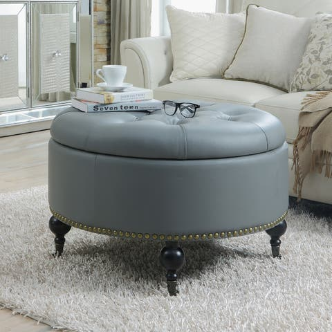Chic Home Mona Black/ Grey/ Cream Leather Hidden Storage Button Tufted Gold Nailhead Trim Round Ottoman