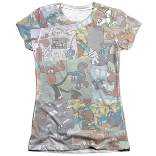 Rocky & Bullwinkle/Collage Short Sleeve Junior Poly/Cotton Crew in White