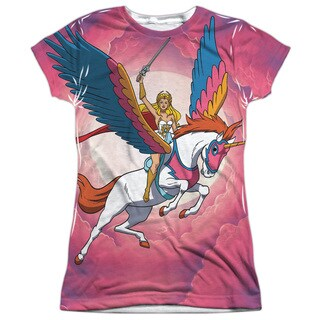 She Ra/Sky Power (Front/Back Print) Short Sleeve Junior Poly Crew in White