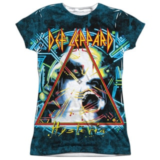 Def Leppard/Hysteria Short Sleeve Junior Poly Crew in White