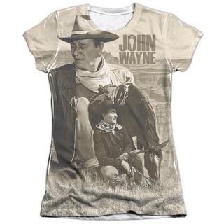 John Wayne/Stoic Cowboy Short Sleeve Junior Poly/Cotton Crew in White
