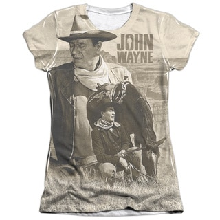 John Wayne/Stoic Cowboy (Front/Back Print) Short Sleeve Junior Poly/Cotton Crew in White