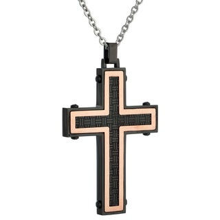 Black Ip Stainless Steel Woven Cross with Rose Ip
