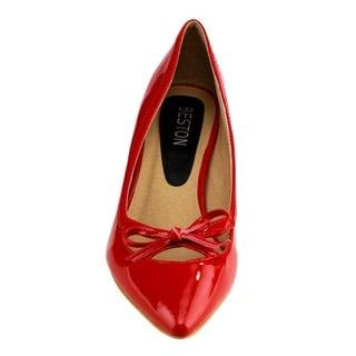 Beston Women's Faux Leather Pointed-toe Heels