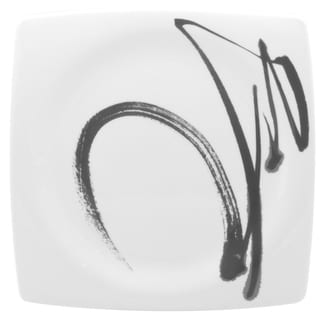 Red Vanilla Paint It Black/White Porcelain 10.5-inch Dinner Plates (Pack of 6)