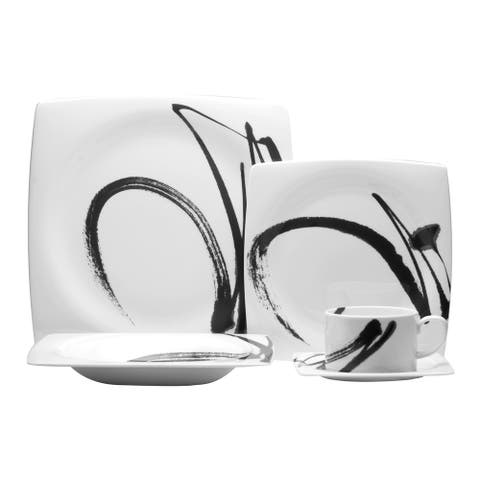 Paint It Black Square Dinner Plates (Set of 6)