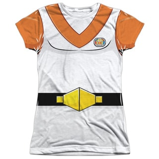Voltron/Hunk Costume (Front/Back Print) Short Sleeve Junior 100-percent Poly Crew in White