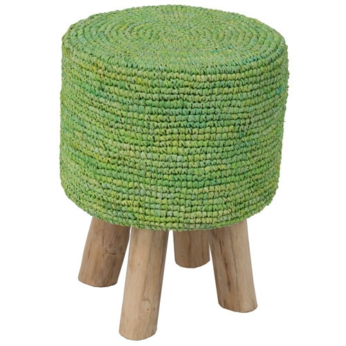Crafted Home Decorative Goldendale Round Lime Green Stool