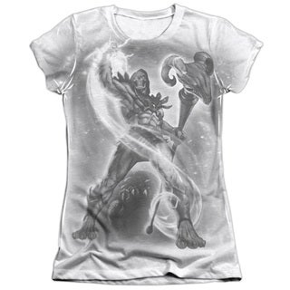 Masters Of The Universe/Skeletor B&W Short Sleeve Junior 65/35 Poly/Cotton Crew in White
