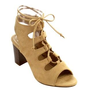 Styluxe Women's Faux Suede Chunky Heel Sandals