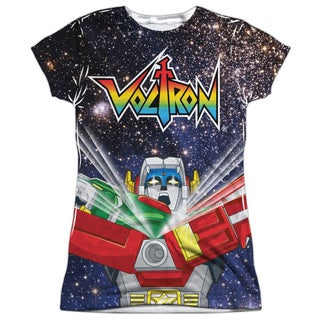 Voltron/Space Defender Short Sleeve Junior 100-percent Poly Crew in White