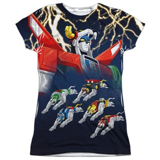 Voltron/Boltron Short Sleeve Junior 100-percent Poly Crew in White